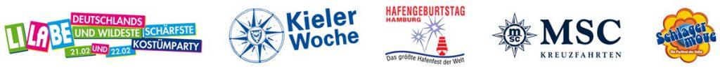 Referenzen LiLaBe, Kieler Woche, Hafengeburtstag, MSC, Schlagermove