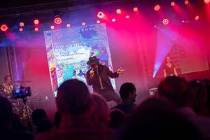 Sänger als Udo Lindenberg auf einer Dorffestbühne